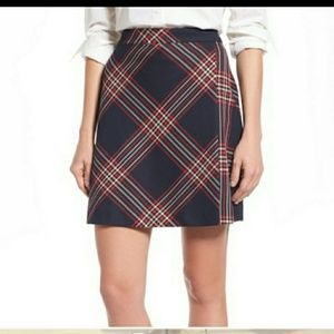 Halogen Nordstrom navy and red plaid mini skirt 18